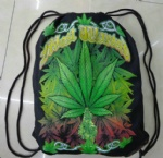 rasta leaf jamaican cotton drawstring bag