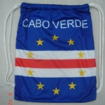 cabo verde flag Drawstring bag