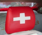Swiss flag car seat head rest cover