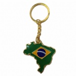 Brazil map flag key chain