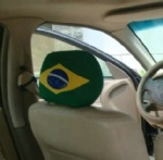 Brazil flag car seat head rest cover